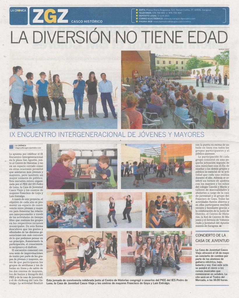 2014_05 IX ENCUENTRO Jovenes-Mayores PIEE IES Pedro de Luna CRONICA del CC