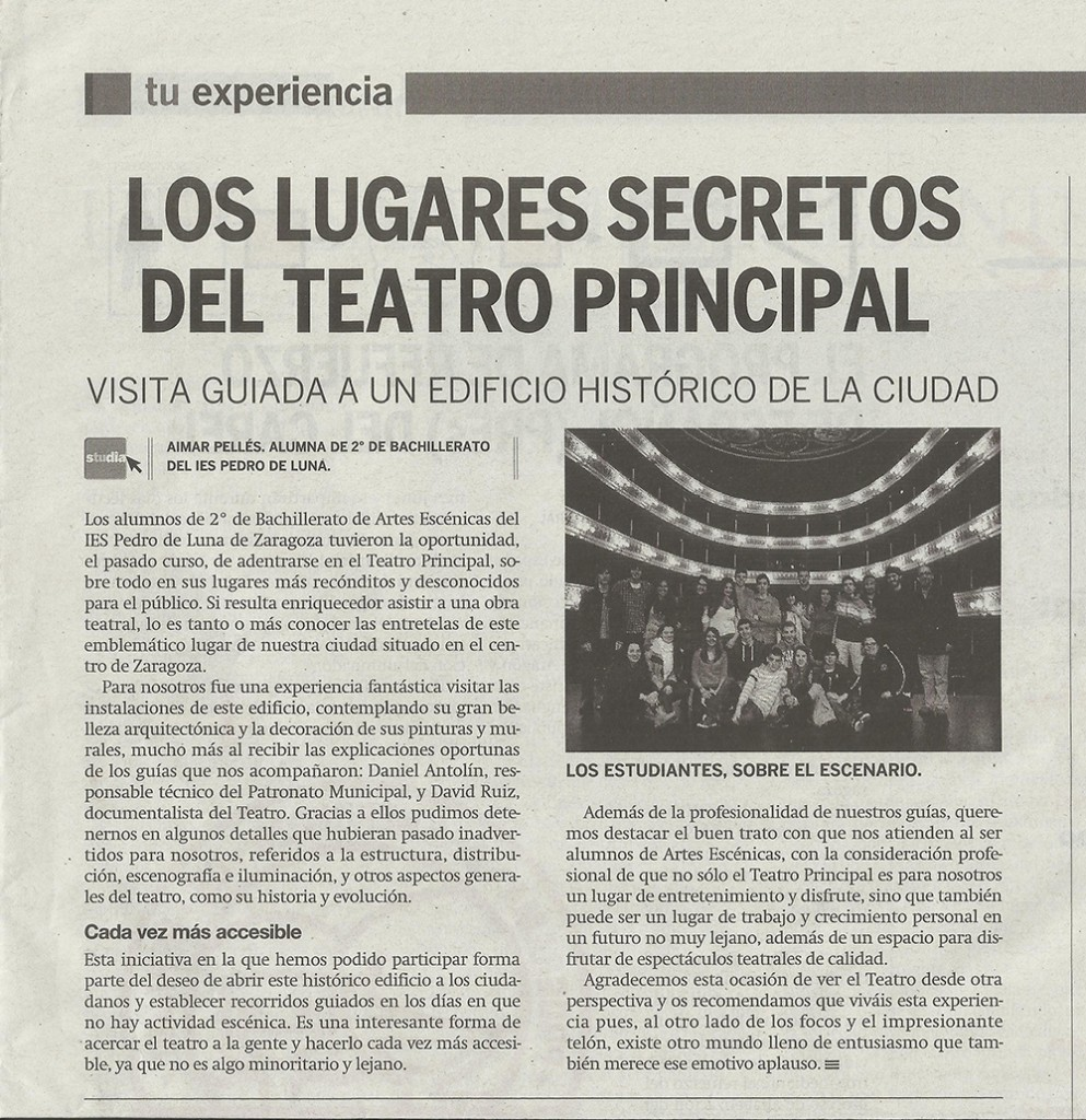 IES Pedro de Luna Visita TEATRO PRINCIPAL PdeA 2014_09_30 noticia WEB-N