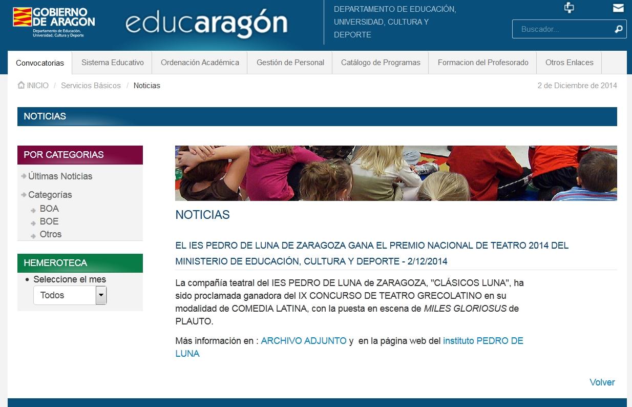 Educaragon Calendario Escolar 2020.I E S Pedro De Luna Miles Gloriosus Y Clasicos Luna En
