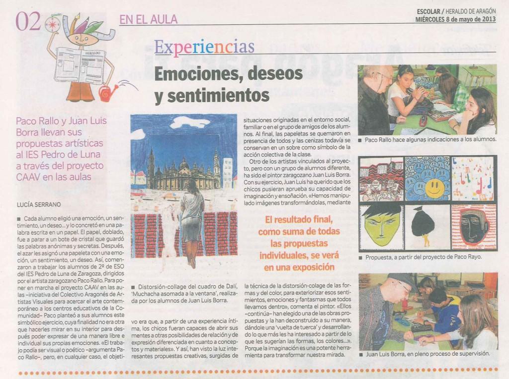 PLASTICA IES Pedro de Luna CAAV y 2 ESO EXPOSICION 2013 HdeA