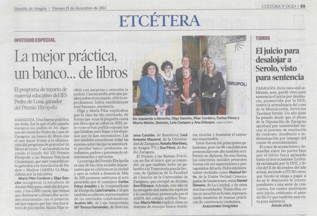 PREMIO Ebropolis 2013 AMPA IES Pedro de Luna HdeA noticia