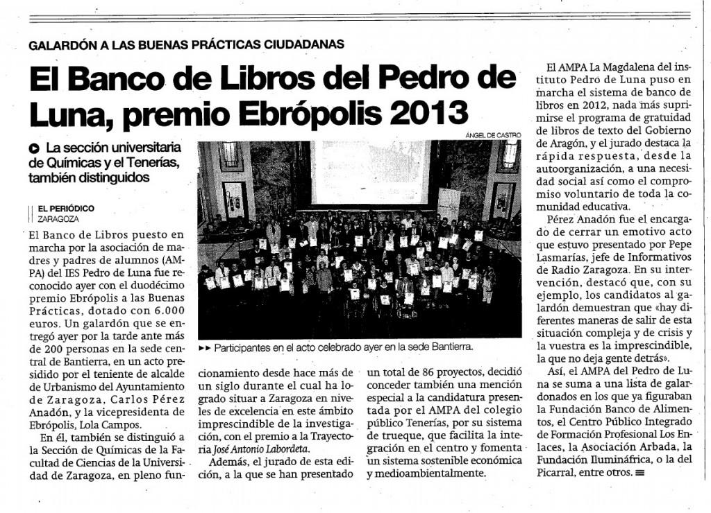 PREMIO Ebropolis 2013 AMPA IES Pedro de Luna PdeA noticia